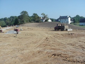 Shadowlake Village building site showing cleared land at the top of the ridge.